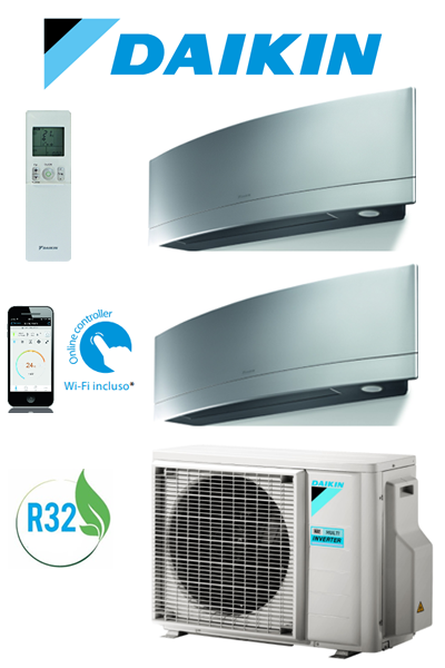 CLIMATIZZATORE DAIKIN BLUEVOLUTION EMURA SILVER NEW 2018 INVERTER DUAL SPLIT WI-FI GAS R32 + STAFFE