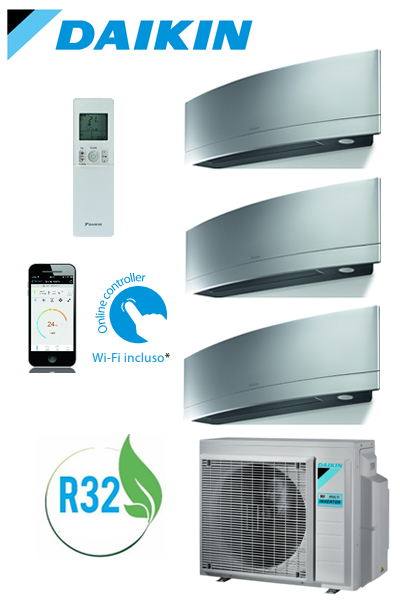 CLIMATIZZATORE DAIKIN BLUEVOLUTION EMURA SILVER NEW 2018 INVERTER TRIAL SPLIT WI-FI GAS R32 + STAFFE
